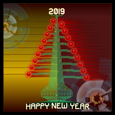 Techno Happy 2019. Technologic Christmas tree. Vector illustration of 2019 new year greetings. All elements sorted and grouped