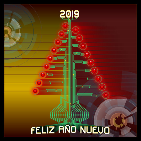 Techno Happy 2019. Technologic Christmas tree. Vector illustration of 2019 new year greetings. All elements sorted and grouped. Spanish version.