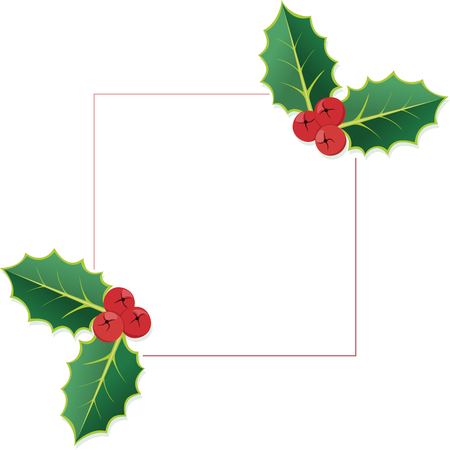 Christmas Holly frame with blank space for your contents. Ilustração