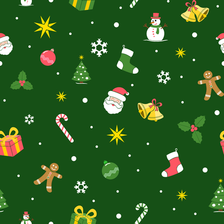Christmas Seamless Background. Flat colors. Cartoon style design. Vector illustration with all elements sorted and grouped in layers for easy editing