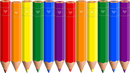 Seamless background with the colors of LGBT Rainbow Flag on pencils