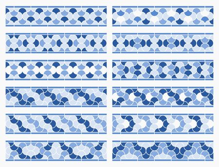 Arabic tile pattern. Different designs of horizontal seamless borders based on islamic traditional art. All elements sorted and grouped in layers Ilustração