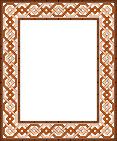 Arabic blank rectangular frame based on islamic traditional art. All elements sorted and grouped in layers