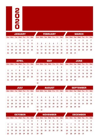Red DIN-A4 2020 English calendar. Vector illustration with blank space for your contents. Printable portrait version. All elements sorted and grouped in layers for easy edition. Ilustração