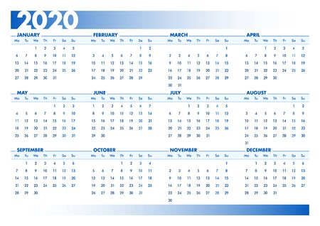 Blue 2020 English calendar. Vectorial illustration with blank space for your contents. All elements sorted and grouped in layers for easy edition. DIN-A4 or DIN- A3 printable landscape version