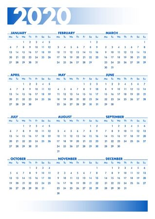 Blue 2020 English calendar. Vectorial illustration with blank space for your contents. All elements sorted and grouped in layers for easy edition. DIN-A4 or DIN- A3 printable portrait version Stock Illustratie