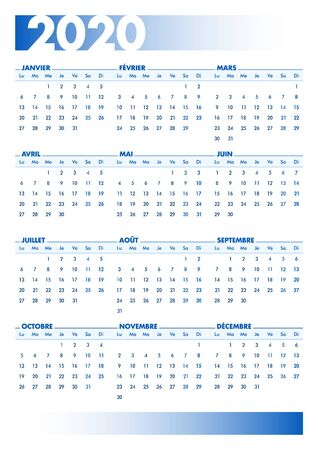 Blue 2020 French calendar. Vectorial illustration with blank space for your contents. All elements sorted and grouped in layers for easy edition. DIN-A4 or DIN- A3 printable portrait version Stock Illustratie