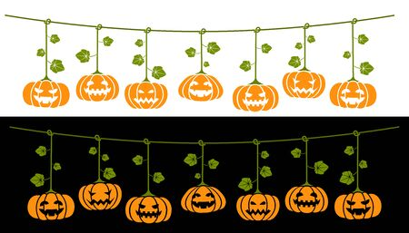 Hanging Halloween pumpkins. Transparent design for any background color.  Angry and happy expressions on two different backgrounds. In vector all elements are well sorted and grouped for easy editing. Landscape version