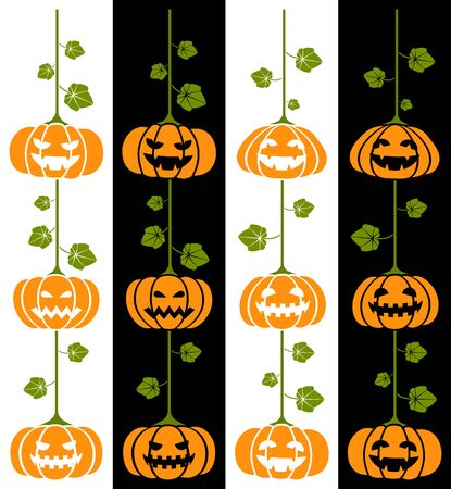 Hanging Halloween pumpkins. Transparent design for any background color.  Angry and happy expressions on two different backgrounds. In vector all elements are well sorted and grouped for easy editing. Portrait version