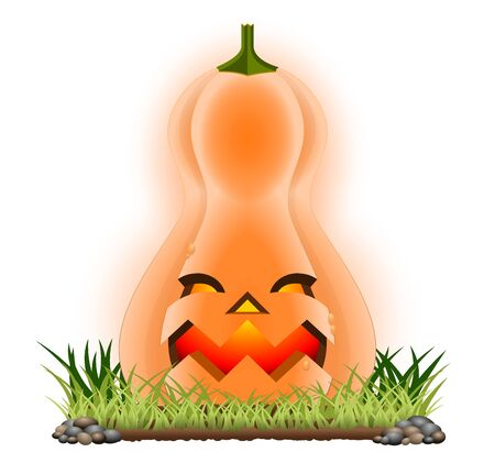 Halloween cartoon pumpkin isolated on white. In vector version you can easily replace or delete the background. All elements are sorted and grouped for easy edition.