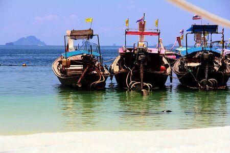krabi: Longtailed boat at Krabi sea Stock Photo