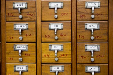retrieval: Cabinet for catalog card in the library