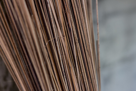 A texture of broom made of coconut leaf core photo