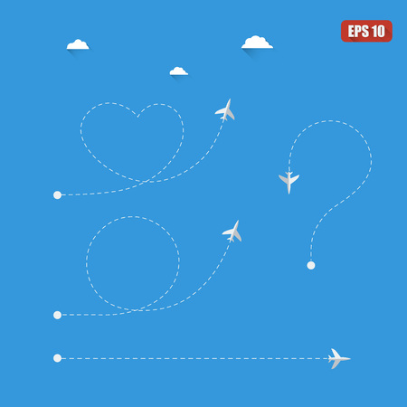 dotted line: Plane info graphic with dotted line symbols Illustration
