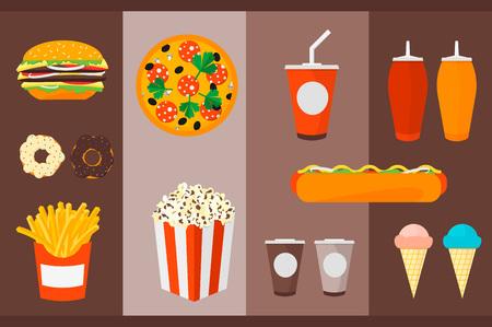 greens: Fast Food Burger, hamburger, ketchup, mustard, ice cream, pizza, donuts, cheese, fries, greens, popcorn, tea, coffee. Trendy flat vector illustration.