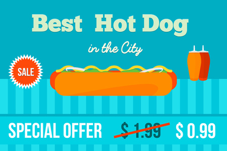 hot dog label: Best Hot dog in the City. Advertising design. Flat vector illustration.