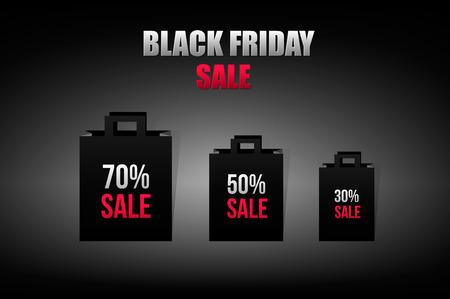 gift bag: Black friday sales gift bag. Vector illustration.