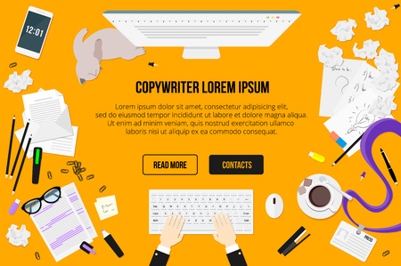 Copywriter work desktop top view. Letters, glasses, a Cup of coffee, notes, badge, pencils, stapler, staples, highlighter, eraser, phone, sheet of paper, a stick, crumpled paper, sketches, lazy cat.