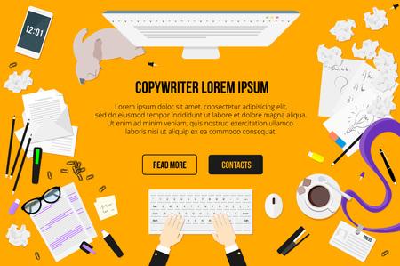 lapices: Escritorio de trabajo Copywriter vista superior. Cartas, vasos, una taza de café, notas, placas, lápices, grapadora, grapas, resaltador, borrador, teléfono, hoja de papel, un palo, papel arrugado, bocetos, gato perezoso. Vectores