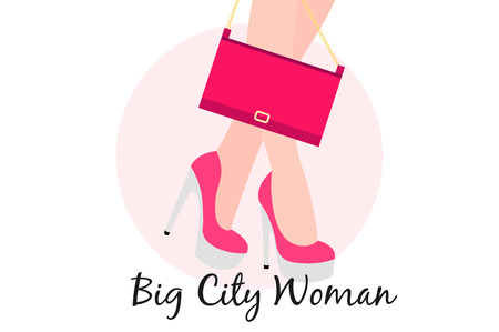 Big City Woman. Conceptual flat vector illustration.