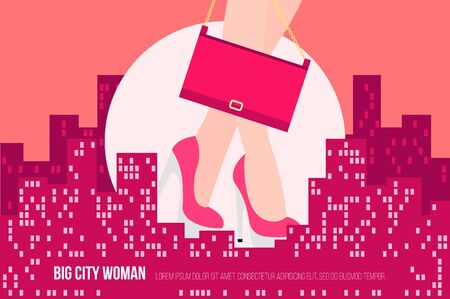 urban planning: Big City Woman. Conceptual flat vector illustration.