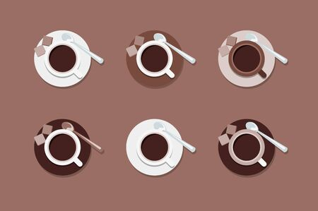 invigorate: Cups of coffee. Set of flat vector icons.