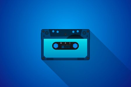 casette: Retro Audio cassette. Modern flat style vector illustration. Posters, postcards, greeting cards, banners, packaging, headers template. Illustration