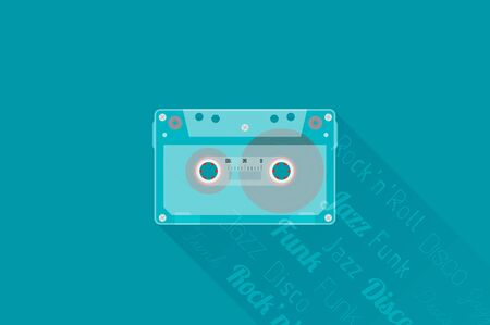 vector banners or headers: Retro Audio cassette. Modern flat style vector illustration. Posters, postcards, greeting cards, banners, packaging, headers template. Illustration