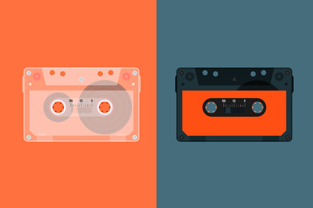 media player: Retro Audio cassette. Modern flat style vector illustration. Posters, postcards, greeting cards, banners, packaging, headers template. Illustration