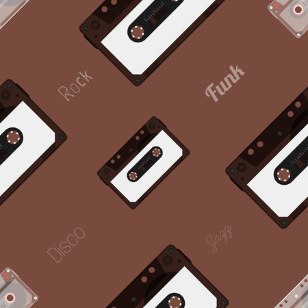 outdated: Retro Audio cassette. Seamless Pattern. Modern flat style vector illustration. Posters, postcards, greeting cards, banners, packaging template.