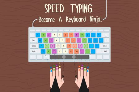 typing: Speed typing. Become a Keyboard Ninja. Teaching vector illustration how to improve your typing speed. Illustration