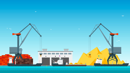 sea port: Sea port for cargo ships. Flat style vector illustration. Illustration