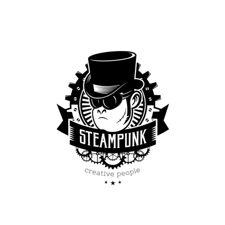 Vintage steampunk logo. Monkey in top-hat. Monochrome vector illustration, can be used as a logo, label for clothing, t-shirt print, tattoo. Vettoriali