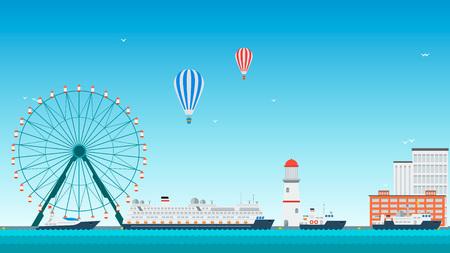 passenger ships: Sea port for passenger ships. Vector illustration.