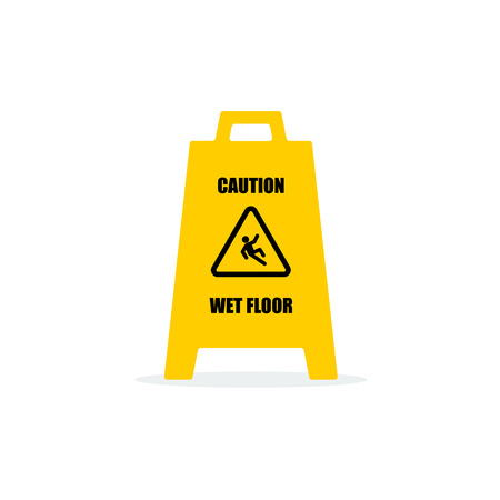 cantonese: Yellow Wet Floor Sign. Flat vector icon. Illustration