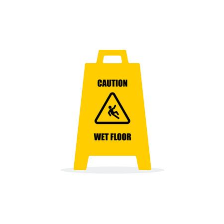 slippery floor: Yellow Wet Floor Sign. Flat vector icon. Illustration