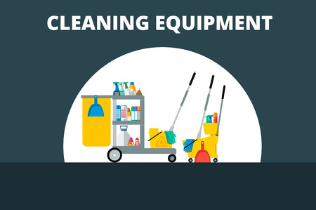 Flat vector trolley with accessories for cleaning company. Detergents, gloves, a bucket,  sign of wet floor, mop, shovel and spray.