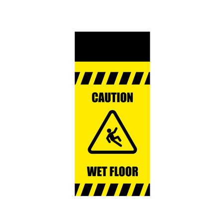 wet: Yellow Wet Floor Sign. Flat vector icon. Illustration