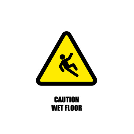 skid: Yellow Wet Floor Sign. Flat vector icon. Illustration