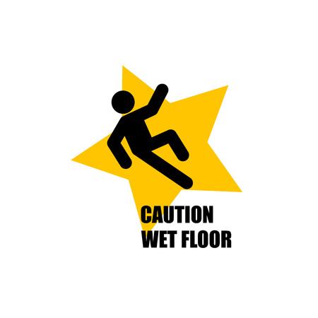 slip hazard: Yellow Wet Floor Sign. Flat vector icon. Illustration