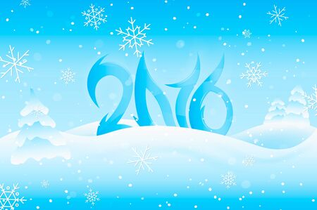 snowbank: Happy New Year 2016. Text Design. Vector Illustration. Illustration