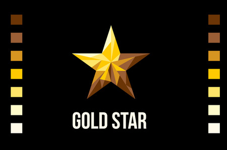 black star: Gold star on black background. Flat Style vector Illustration. Illustration