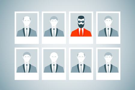 executive search: Proffessional staff research. Business concept of human resources managment. Recruitment, personnel selection, headhunting and executive search. Trendy man with beard and undercut combination.