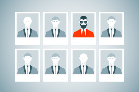 staffing: Proffessional staff research. Business concept of human resources managment. Recruitment, personnel selection, headhunting and executive search. Trendy man with beard and undercut combination.