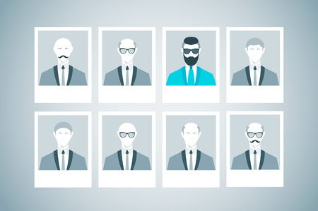 recruit suit: Proffessional staff research. Business concept of human resources managment. Recruitment, personnel selection, headhunting and executive search. Trendy man with beard and undercut combination.