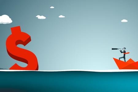 fernrohr: Trendy Unternehmer haben Bart und unterschnittene Kombination sucht er Geld mit Teleskop, während in einem Papierboot in einer hohen See. Flache Vektor-Illustration.