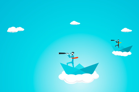 Trendy businessman have beard and undercut combination he is looking for ideas with telescope while in a paper boat in the sky. Flat vector illustration.