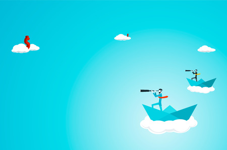 undercut: Trendy businessman have beard and undercut combination he is looking for money  with telescope while in a paper boat in the sky. Flat vector illustration. Illustration