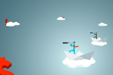 paper boat: Trendy businessman have beard and undercut combination he is looking for money  with telescope while in a paper boat in the sky. Flat vector illustration. Illustration