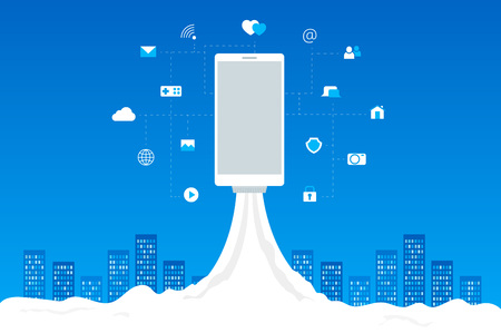 3g: Phone launch like a space rocket with mobile icons. Abstract blue cityscape on background. Wifi, 3G, 4G advertising desing.